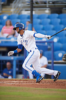 Dunedin Blue Jays shortstop Lourdes Gurriel (13) grounds out to third base in his second at bat during a game against the St. Lucie Mets on April 19, 2017 at Florida Auto Exchange Stadium in Dunedin, Florida.  Gurriel injured his hamstring on the play as Dunedin defeated St. Lucie 9-1.  (Mike Janes/Four Seam Images)