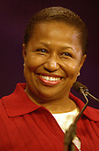 Former United States Senator Carol Moseley-Braun (Democrat of Illinois), a candidate for the 2004 Democratic Presidential nomination, speaks at the Service Employees International Union 2003 Political Action Conference in Washington, DC on September 8, 2003..Credit: Ron Sachs / CNP