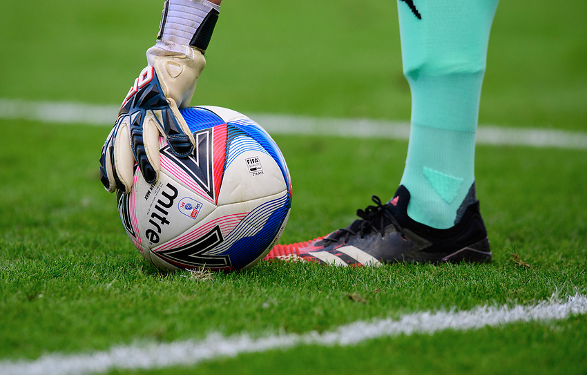 Oxford United's Simon Eastwood picks up a Mitre Delta Max official EFL match ball<br /> <br /> Photographer Chris Vaughan/CameraSport<br /> <br /> The EFL Sky Bet League One - Saturday 12th September 2020 - Lincoln City v Oxford United - LNER Stadium - Lincoln<br /> <br /> World Copyright © 2020 CameraSport. All rights reserved. 43 Linden Ave. Countesthorpe. Leicester. England. LE8 5PG - Tel: +44 (0) 116 277 4147 - admin@camerasport.com - www.camerasport.com - Lincoln City v Oxford United