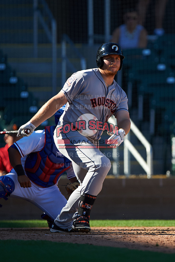 Glendale Desert Dogs first baseman A.J. Reed (14) at bat during an Arizona Fall League game against the Surprise Saguaros on October 23, 2015 at Salt River Fields at Talking Stick in Scottsdale, Arizona.  Glendale defeated Surprise 9-6.  (Mike Janes/Four Seam Images)