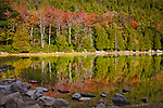 Fall colors Bubble Pond and the shoulder of Cadillac Mountain in Acadia National Park, Downeast, ME