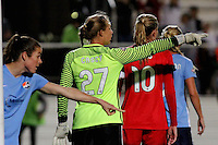 Piscataway, NJ - Sunday Sept. 25, 2016: Kelley O'Hara, Caroline Casey, Allie Long during a regular season National Women's Soccer League (NWSL) match between Sky Blue FC and the Portland Thorns FC at Yurcak Field.