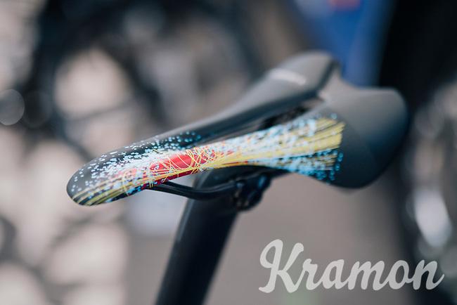Marcel Kittel's (DEU/QuickStep Floors) costumised saddle #fireworks<br /> <br /> 104th Tour de France 2017<br /> Stage 6 - Vesoul &rsaquo; Troyes (216km)