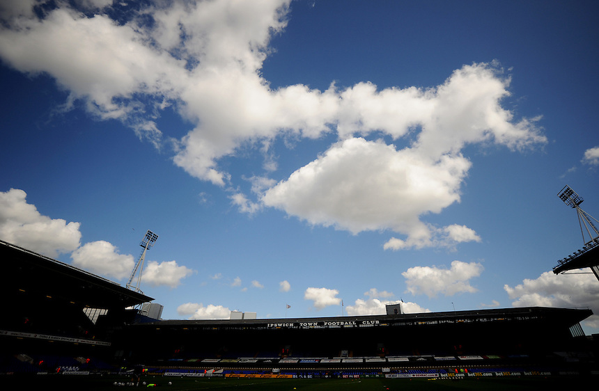A general view of Portman Road, home of Ipswich Town<br /> <br /> Photographer Kevin Barnes/CameraSport<br /> <br /> Football - The Football League Sky Bet Championship - Ipswich Town v  Blackpool - Saturday 11th April 2015 - Portman Road - Ipswich<br /> <br /> &copy; CameraSport - 43 Linden Ave. Countesthorpe. Leicester. England. LE8 5PG - Tel: +44 (0) 116 277 4147 - admin@camerasport.com - www.camerasport.com