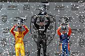 Josef Newgarden, Team Penske Chevrolet, Ryan Hunter-Reay, Andretti Autosport Honda, Scott Dixon, Chip Ganassi Racing Honda celebrate on the podium