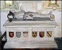 BNPS.co.uk (01202 558833)<br /> Pic: GrahamBathe/BNPS<br /> <br /> Sir John Seymour, Jane's father's tomb in Great Bedwyn church<br /> <br /> Historic Wolf Hall, home to the Seymour family and star of Hilary Mantel's famous trilogy on Henry VIII th, has finally been definitively located after new discoveries around the much smaller ramshackle house that remains today. <br /> <br /> Despite it's fame, nobody really knew where the enormous Tudor pile actually was, or what it looked like, due to its very short but very influential existance in the middle of the tumultuous 16th century.<br /> <br /> Built with a million pound loan (&pound;2,400) from King Henry in 1531, brokered by Thomas Cromwell, the huge house was rapidly brick built in time for the King's pivotal visit with the court and troublesome wife Anne Boleyn in 1535, at which point Sir John Seymour's daughter Jane caught his eye, within a year Anne was dead and Jane, and the rest of the Seymour clan were in.<br /> <br /> They benefitted massively from Royal patronage and the dissolution of the monastries, but it all went wrong when Henry died and the brothers fell out and were later executed in a spectacular fall from power only 21 years after the house was built.<br /> <br /> Historian Graham Bathe and his team have now uncovered part of the outline of the original building, as well as the extensive Tudor brick sewer system that proves the huge scale of the 16th century mansion.