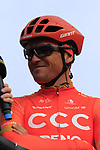 Greg Van Avermaet (BEL) CCC Team on stage at sign on before the 2019 Gent-Wevelgem in Flanders Fields running 252km from Deinze to Wevelgem, Belgium. 31st March 2019.<br /> Picture: Eoin Clarke | Cyclefile<br /> <br /> All photos usage must carry mandatory copyright credit (© Cyclefile | Eoin Clarke)