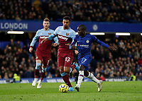 30th November 2019; Stamford Bridge, London, England; English Premier League Football, Chelsea versus West Ham United; Ngolo Kante of Chelsea is challenged by Sebastien Haller of West Ham United   - Strictly Editorial Use Only. No use with unauthorized audio, video, data, fixture lists, club/league logos or 'live' services. Online in-match use limited to 120 images, no video emulation. No use in betting, games or single club/league/player publications