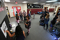 NWA Democrat-Gazette/J.T. WAMPLER Students present their projects Tuesday Oct. 10, 2017 during EAST Night Out at Sonora Middle School. There were projects using 3D printing, virtual reality, robots/coding and music production. There was also dancing and food.