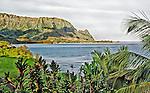 Bali Hai, viewed from Princeville, Kauai, Hawaii, across Hanalei Bay early on a partly sunny morning
