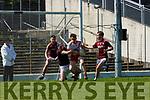 Óigi O'Sé An Ghaeltacht is tackled by Dromid goalkeeper Donal Jer O'Sullivan, Shane O'Sonnor and Caoimhin O Siochain during the Intermediate Championship semi final in Fitzgerald Stadium on Sunday