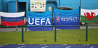 16th November 2019; Leckwith Stadium, Cardiff, Glamorgan, Wales; European Championship Under 19 2020 Qualifiers, Russia under 19s versus Wales under 19s; Russia and Wales flags ahead of the Uefa European Qualifiers - Editorial Use