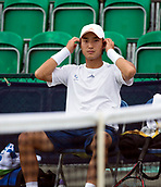 June 13th 2017, Nottingham, England; ATP Aegon Nottingham Open Tennis Tournament day 2;  Go Soeda of Japan takes a break in his match against Lloyd Glasspool of Great Britain