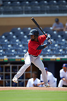 Daniel Johnson (8) of the Columbus Clippers at bat against the Durham Bulls at Durham Bulls Athletic Park on June 1, 2019 in Durham, North Carolina. The Bulls defeated the Clippers 11-5 in game one of a doubleheader. (Brian Westerholt/Four Seam Images)
