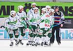 Stockholm 2014-03-01 Bandy SM-semifinal 1 Hammarby IF - V&auml;ster&aring;s SK :  <br /> V&auml;ster&aring;s Ted Bergstr&ouml;m &auml;r glada tillsammans med lagkamrater V&auml;ster&aring;s Tobias Holmberg , V&auml;ster&aring;s Janne Rintala , V&auml;ster&aring;s Oscar Gr&ouml;hn och V&auml;ster&aring;s Magnus Joneby<br /> (Foto: Kenta J&ouml;nsson) Nyckelord:  VSK Bajen HIF jubel gl&auml;dje lycka glad happy