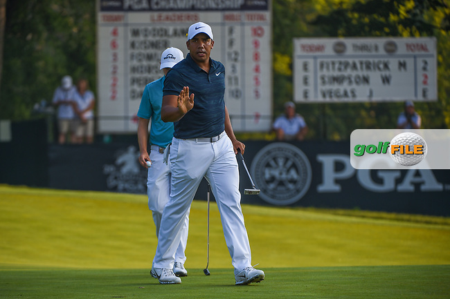 Jhonattan Vegas (VEN) after sinking his putt on 9 during 2nd round of the 100th PGA Championship at Bellerive Country Club, St. Louis, Missouri. 8/11/2018.<br /> Picture: Golffile | Ken Murray<br /> <br /> All photo usage must carry mandatory copyright credit (© Golffile | Ken Murray)