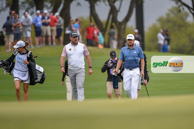 Lee Westwood (GBR) and Tyrrell Hatton (ENG) approach the green on 1 during day 3 of the WGC Dell Match Play, at the Austin Country Club, Austin, Texas, USA. 3/29/2019.<br /> Picture: Golffile | Ken Murray<br /> <br /> <br /> All photo usage must carry mandatory copyright credit (© Golffile | Ken Murray)