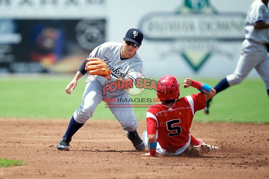 Staten Island Yankees Fu-Lin Kuo #61 attempts to tag Steve Ramos #5 sliding in during a game against the Batavia Muckdogs at Dwyer Stadium on July 29, 2012 in Batavia, New York.  Batavia defeated Staten Island 10-2.  (Mike Janes/Four Seam Images)