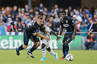 San Jose, CA - Saturday May 27, 2017: Tommy Thompson, Emmanuel Boateng during a Major League Soccer (MLS) match between the San Jose Earthquakes and the Los Angeles Galaxy at Avaya Stadium.