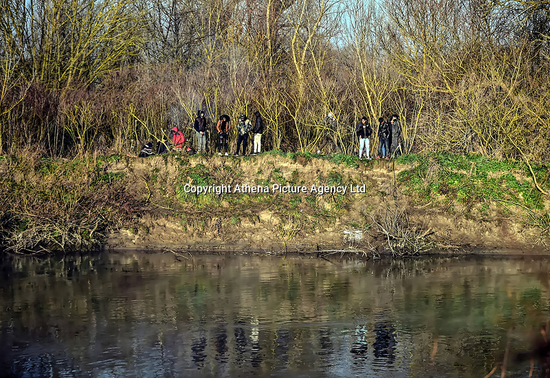 Pictured: Migrants by the Turkish side of the border. Sunday 01 March 2020<br /> Re: Clashes between migrants and riot police at the Greek-Turkish border of Kastanies near Evros, Greece