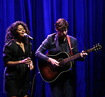 Rebecca Naomi Jones and John Gallagher Jr. on stage during the Vineyard Theatre Gala 2018 honoring Michael Mayer at the Edison Ballroom on May 14, 2018 in New York City.