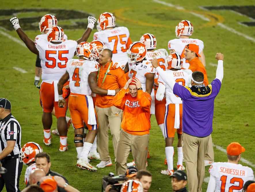 JANUARY 9, 2017: Clemson Head Coach Dabo Swinney celebrates during 2017 College Football Playoff National Championship game against Alabama at Raymond James Stadium. (Photo by Matt May)