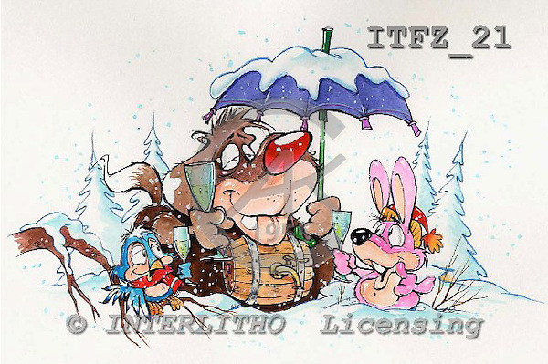 Fabrizio, Comics, CHRISTMAS SANTA, SNOWMAN, paintings, ITFZ21,#x# stickers Weihnachten, Navidad, illustrations, pinturas