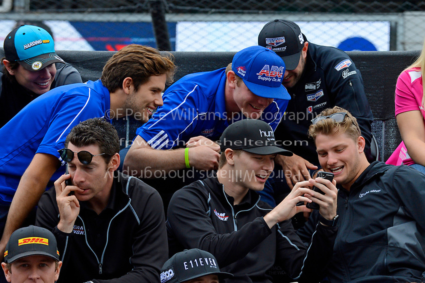 Verizon IndyCar Series<br /> Indianapolis 500 Drivers Meeting<br /> Indianapolis Motor Speedway, Indianapolis, IN USA<br /> Saturday 27 May 2017<br /> What's on Josef Newgarden's (Team Penske Chevrolet) phone gathers the interest of his fellow drivers.<br /> World Copyright: F. Peirce Williams