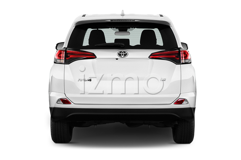 Straight rear view of a 2018 Toyota RAV4 LE 5 Door SUV stock images