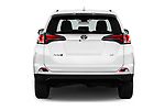 Straight rear view of a 2017 Toyota RAV4 LE 5 Door SUV stock images