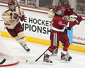 Ashley Motherwell (BC - 18), Sarah Edney (Harvard - 3), Meagan Mangene (BC - 24) - The Boston College Eagles defeated the visiting Harvard University Crimson 3-1 in their NCAA quarterfinal matchup on Saturday, March 16, 2013, at Kelley Rink in Conte Forum in Chestnut Hill, Massachusetts.