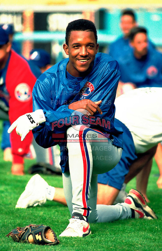 Pedro Martinez of the Montreal Expos during a 1995 season game at Dodger Stadium in Los Angeles,California.(Larry Goren/Four Seam Images)
