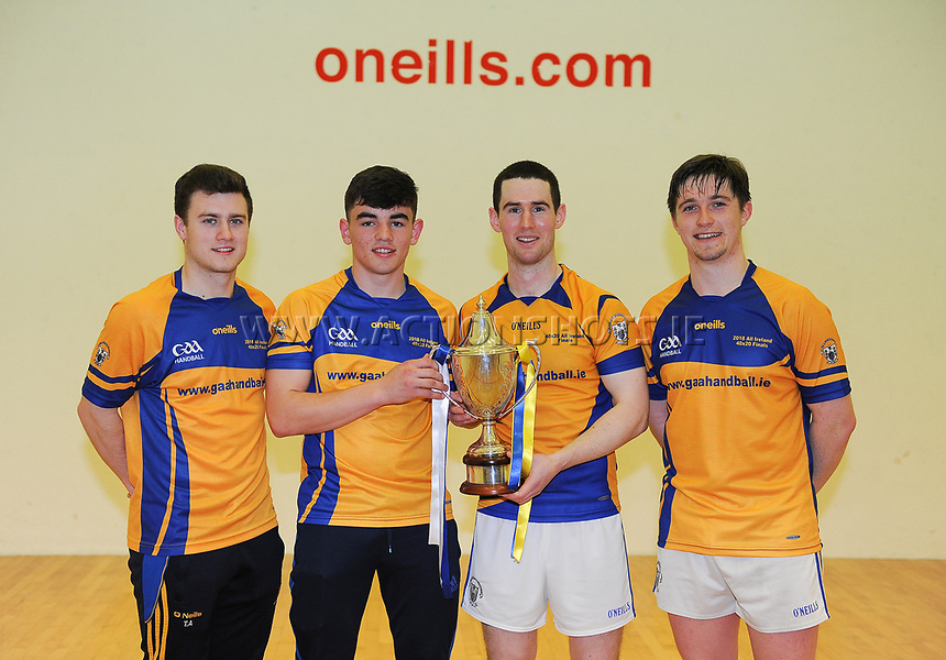 07/04/2018; GAA Handball O&rsquo;Neills 40x20 Championship Mens Senior Final - Cavan (Paul Brady/Michael Finnegan v Clare (Diarmuid Nash/Colin Crehan); Kingscourt, Co Cavan;<br /> The minor and senior winning players from Clare (L-R) Tiernan Agnew, Mark Rodgers, Diarmuid Nash and Colin Crehan.<br /> Photo Credit: actionshots.ie/Tommy Grealy