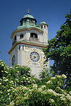 Clock tower, Muellersches swimming pool, Munich,Bavaria, Germany.
