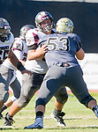 Palos Verdes, CA 09-07-18 - Jalen Iereneo (Torrance #65) and Zack Denny (Peninsula #53) in action during the Torrance - Palos Verdes Peninsula Varsity football game.