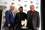 ATLANTA, GA - DECEMBER 05: Atlanta United FC's Josef Martinez poses with the Landon Donovan MVP Award and MLS executive Lino DiCuollo (left) and Atlanta owner Arthur Blank (right). The 2018 MLS MVP Presentation was held on December 5, 2018 at the Arthur Blank Family Center in Atlanta, GA.