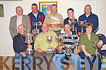 Tim O'Sullivan, second from left, organiser of the Lough Le?in Anglers association end of year competition, pictured presenting the prizes from the competition in The Kerry Way bar, Glenflesk on Sunday night. Pictured are Ollie O'Shea, angler of the year, Phil Dewey, competition winner, Margaret Doyle, ladies winner, Padraic Coughlan, chairman lough le?in anglers, Dave Mears, Denis Cronin, heaviest trout, Peter O'Brien, juvenile winner and John Buckley, best Killarney Angler.