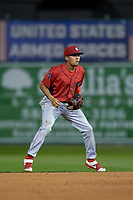Williamsport Crosscutters shortstop Nicolas Torres (9) during a NY-Penn League game against the Batavia Muckdogs on August 26, 2019 at Dwyer Stadium in Batavia, New York.  Batavia defeated Williamsport 10-0.  (Mike Janes/Four Seam Images)