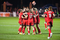 Kansas City, Mo. - Saturday April 23, 2016: The Portland Thorns FC celebrate a goal by midfielder Lindsey Horan (7). FC Kansas City hosts Portland Thorns FC at Swope Soccer Village.