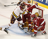 Nick Wolff (UMD - 5), Nathan Krusko (Harvard - 13), Nick Wolff (UMD - 5) - The University of Minnesota Duluth Bulldogs defeated the Harvard University Crimson 2-1 in their Frozen Four semi-final on April 6, 2017, at the United Center in Chicago, Illinois.