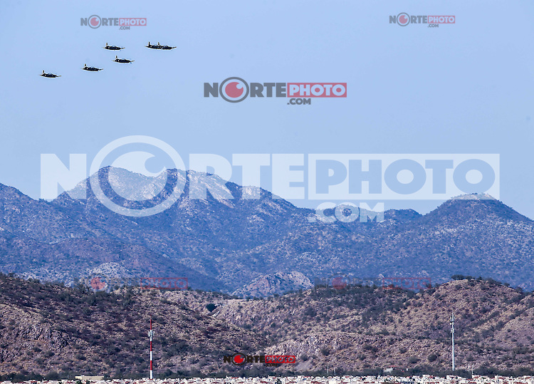 Airshow Airport of Hermosillo, at the opening of a new hangar by President Enrique Pe&ntilde;a Nieto, during the celebrations of the 101 anniversary of the Mexican Air Force, held at the Military Air Base No. 18. Hermosillo Sonora Mexico on February 10, 2016<br />