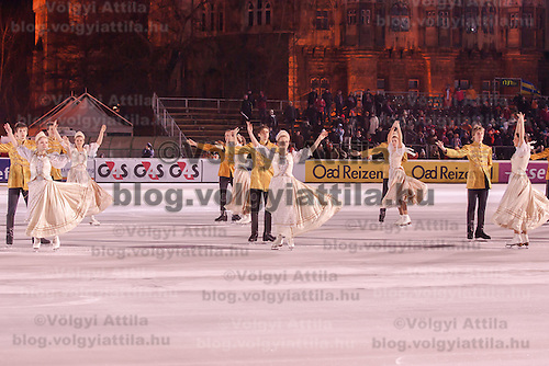 Skaters perform traditional Hungarian dance palotas during the Speed Skating All-round European Championships in Budapest, Hungary on January 8, 2012. ATTILA VOLGYI
