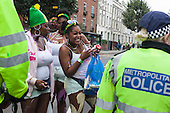 London, UK. 28 August 2016. The traditional early morning Jouvert Parade kicks off the first day of Notting Hill Carnival, one of the world's largest street festivals. At the parade paint and flour is thrown. In 2016 Notting Hill Carnival celebrates its 50th anniversary.