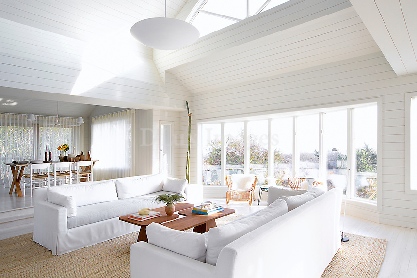 Contemporary living room in white shade