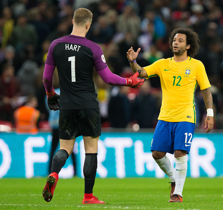 England's Joe Hart shakes hands with Brazil&rsquo;s Marcelo <br /> <br /> Photographer Craig Mercer/CameraSport<br /> <br /> The Bobby Moore Fund International - England v Brazil - Tuesday 14th November 2017 Wembley Stadium - London  <br /> <br /> World Copyright &copy; 2017 CameraSport. All rights reserved. 43 Linden Ave. Countesthorpe. Leicester. England. LE8 5PG - Tel: +44 (0) 116 277 4147 - admin@camerasport.com - www.camerasport.com