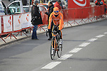 Ruben Perez Moreno (Euskaltel Euskadi) well wrapped up against the biting cold before the start of the 56th edition of the E3 Harelbeke, Belgium, 22nd  March 2013 (Photo by Eoin Clarke 2013)