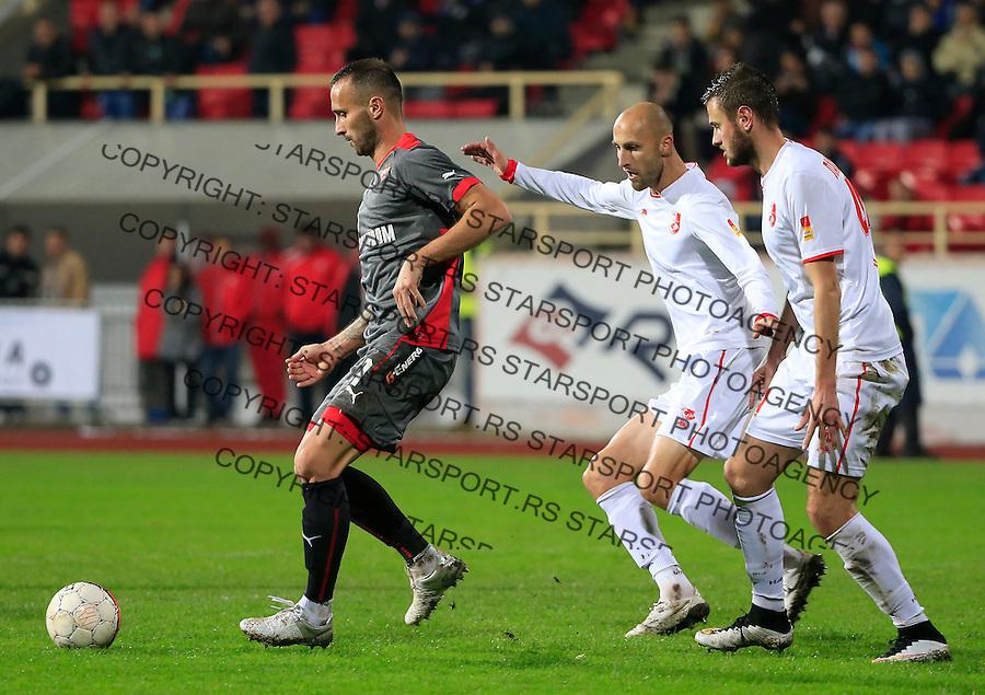 Fudbal Jelen Super League season 2015-2016<br /> Radnicki Nis v Crvena Zvezda<br /> Predrag Sikimic (L0 and Rados Bulatovic (C)<br /> Nis, 22.11.2015.<br /> foto: Srdjan Stevanovic/Starsportphoto&copy;