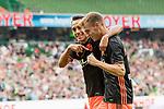 05.08.2017, Weserstadion, Bremen, GER, FSP, SV Werder Bremen (GER) vs FC Valencia (ESP)<br /> <br /> im Bild<br /> Toni Lato (Valencia #16) bejubelt seinen Treffer zum 1:2 mit Fabian Orellana (Valencia #15), <br /> <br /> Foto &copy; nordphoto / Ewert
