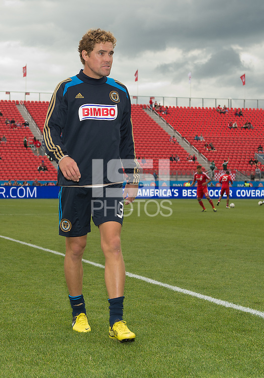15 September 2012: Philadelphia Union defender Chris Albright #3 after the warm-up in an MLS game between the Philadelphia Union and Toronto FC at BMO Field in Toronto, Ontario..The game ended in a 1-1 draw..