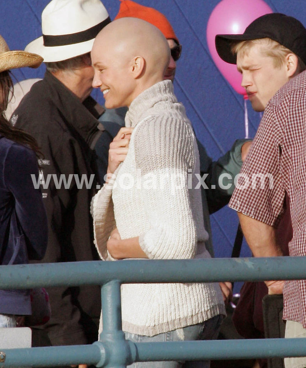 **ALL ROUND PICTURES FROM SOLARPIX.COM**.**WORLDWIDE SYNDICATION RIGHTS - NO USA**.Cameron Diaz sports a new bald look while filming scenes for her new movie.My Sisters Keeper at the Santa Monica Pier Los Angeles in California in the USA.Also, starring in the film is Abigail Breslin and Sofia Vassilieva..This pic:Cameron Diaz.JOB REF:6485-RYA        DATE:22_05_08.**MUST CREDIT SOLARPIX.COM OR DOUBLE FEE WILL BE CHARGED* *UNDER NO CIRCUMSTANCES IS THIS IMAGE TO BE REPRODUCED FOR ANY ONLINE EDITION WITHOUT PRIOR PERMISSION*